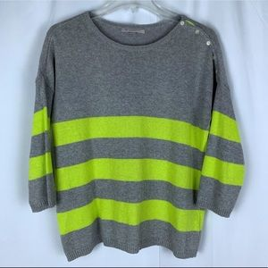 Gap gray and neon yellow stripes, size XS